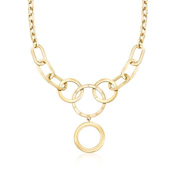 """Engraved Roman Numeral Multi-Link Necklace in Gold-Plated Stainless Steel. 18"""", , default"""