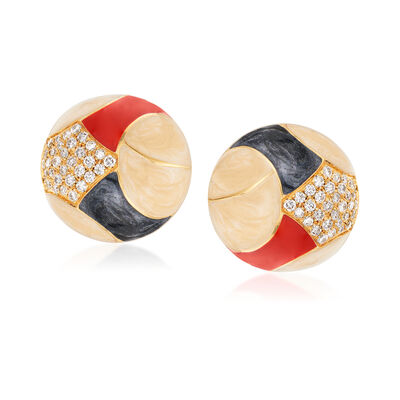 C. 1980 Vintage 1.50 ct. t.w. Diamond and Multicolored Enamel Clip-On Earrings in 18kt Yellow Gold, , default