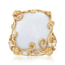 White Agate Scrollwork Frame Ring in 14kt Gold Over Sterling, , default