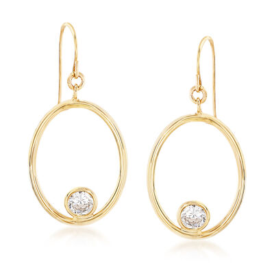 Italian 1.50 ct. t.w. CZ Open Oval Drop Earrings in 14kt Yellow Gold