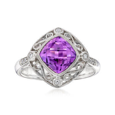 C. 2000 Vintage 1.45 Carat Amethyst and .15 ct. t.w. Diamond Ring in 14kt White Gold, , default