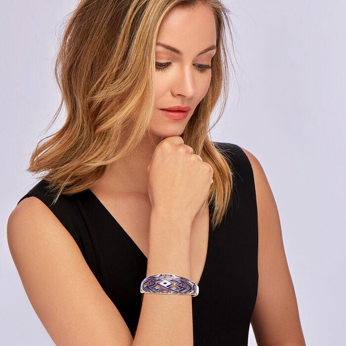 "Belle Etoile ""Virago"" Twilight Blue Enamel and .24 ct. t.w. CZ Bangle Bracelet in Sterling Silver"