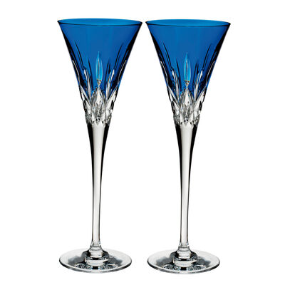 "Waterford Crystal ""Pops"" Set of 2 Lismore Cobalt Flute Glasses"