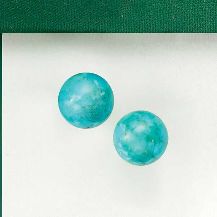 10mm Turquoise Bead Stud Earrings in 14kt Yellow Gold