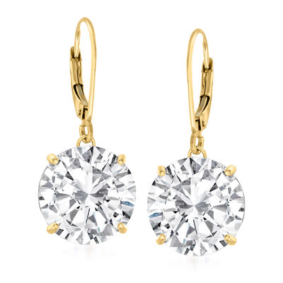8.00 ct. t.w. CZ Drop Earrings in 14kt Yellow Gold