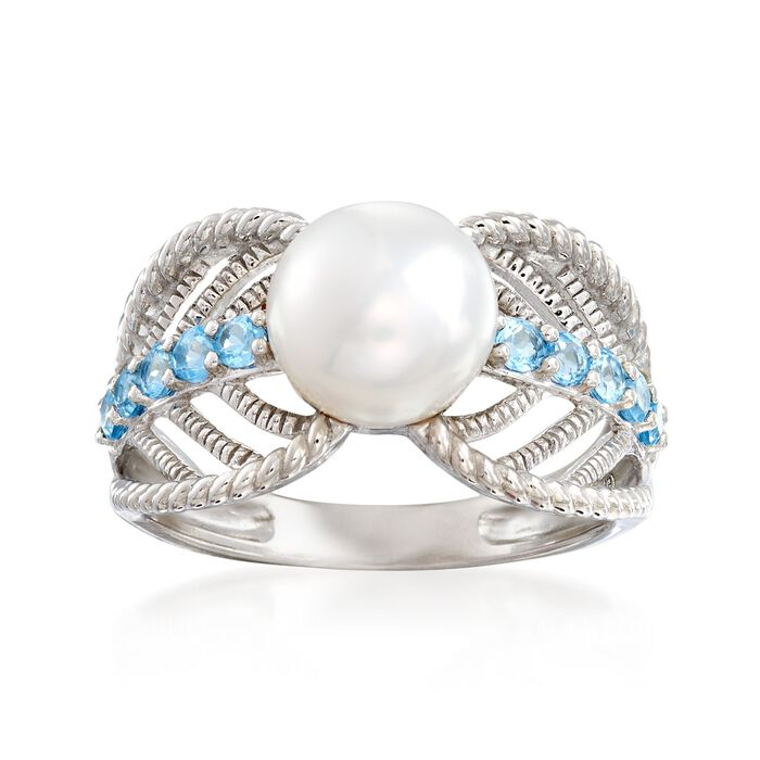 8-8.5mm Cultured Pearl and .40 ct. t.w. Blue Topaz Ring in Sterling Silver
