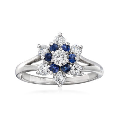 C. 1970 Vintage .50 ct. t.w. Diamond and .25 ct. t.w. Sapphire Flower Ring in 14kt White Gold, , default