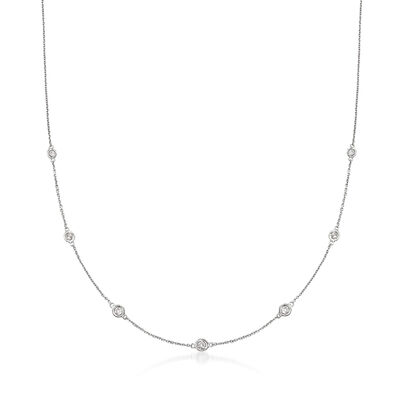.33 ct. t.w. Graduated Bezel-Set Diamond Station Necklace in 14kt White Gold, , default