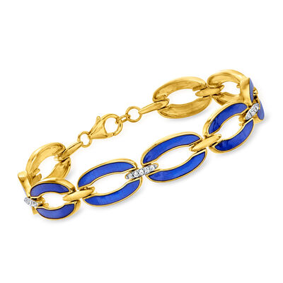 .26 ct. t.w. Diamond and Blue Enamel Link Bracelet in 18kt Gold Over Sterling