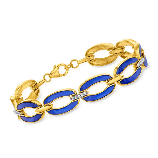 Diamond and Blue Enamel Link Bracelet in 18kt Gold Over Sterling #944087
