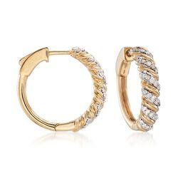 .50 ct. t.w. Diamond Striped Hoop Earrings in 18kt Yellow Gold, , default