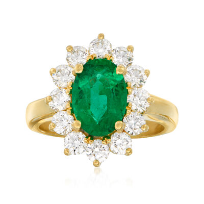 C. 1980 Vintage 1.80 Carat Emerald and 1.20 ct. t.w. Diamond Ring in 18kt Yellow Gold, , default
