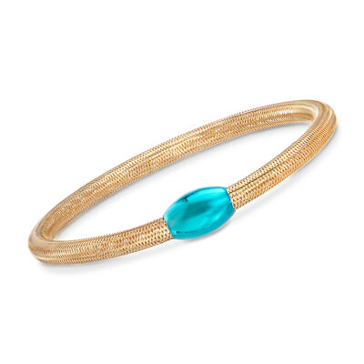 Italian 14kt Yellow Gold Mesh Tube and Teal Bead Center Bangle Bracelet, , default