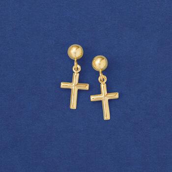 Small Cross Drop Earrings in 14kt Yellow Gold