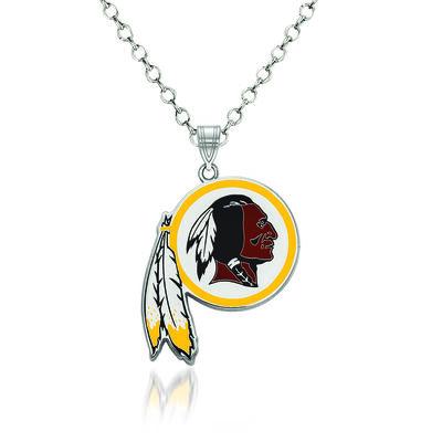 """Sterling Silver NFL Washington Redskins Enamel Pendant Necklace. 18"""""""