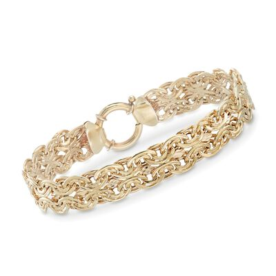 18kt Gold Over Sterling Silver Two-Row Double Oval-Link Bracelet, , default