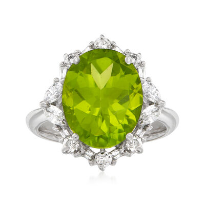 C. 1990 Vintage 6.12 Carat Peridot and .56 ct. t.w. Diamond Ring in 18kt White Gold