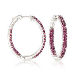 4.80 ct. t.w. Rhodolite Garnet Inside-Outside Hoop Earrings in Sterling Silver , , default
