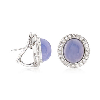 C. 1980 Vintage Chalcedony and 1.35 ct. t.w. Diamond Earrings in 18kt White Gold, , default