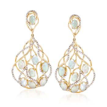 "Opal and .73 ct. t.w. Diamond Earrings in 14kt Yellow Gold. 1 3/4"", , default"