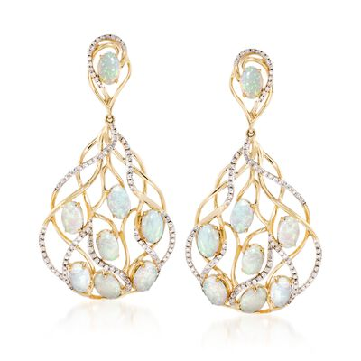 Opal and .73 ct. t.w. Diamond Earrings in 14kt Yellow Gold, , default