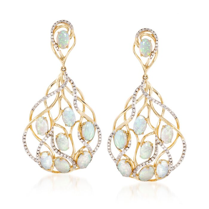 """Opal and .73 ct. t.w. Diamond Earrings in 14kt Yellow Gold. 1 3/4"""", , default"""