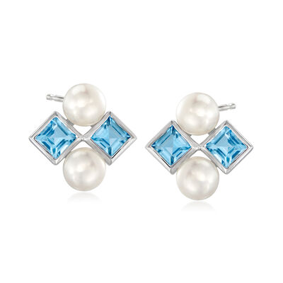 5-5.5mm Cultured Pearl and 1.40 ct. t.w. Swiss Blue Topaz Earrings in Sterling Silver