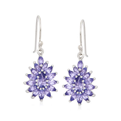 2.90 ct. t.w. Tanzanite Drop Earrings in Sterling Silver, , default