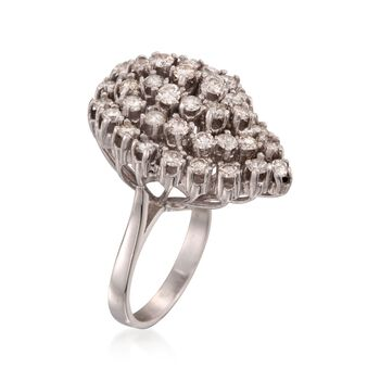 C. 1990 Vintage 2.10 ct. t.w. Diamond Cluster Ring in 14kt White Gold. Size 6.5, , default