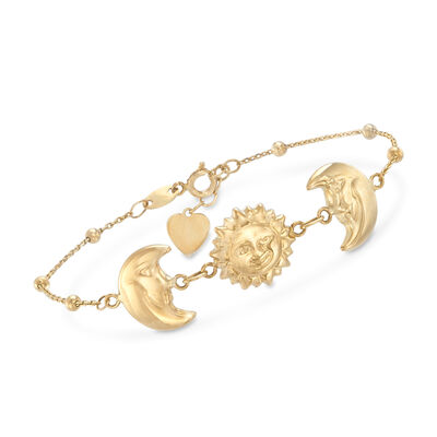 Sun and Half Moon Station Bead Bracelet in 14kt Yellow Gold, , default