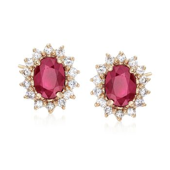 2.00 ct. t.w. Burmese Ruby and .56 ct. t.w. Diamond Stud Earrings in 14kt Yellow Gold, , default