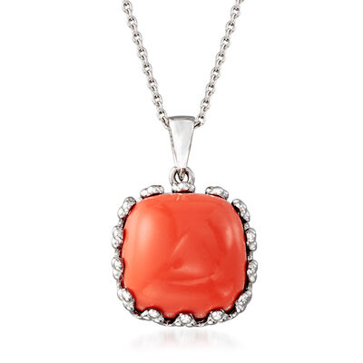 Orange Coral Square Pendant Necklace in Sterling Silver, , default