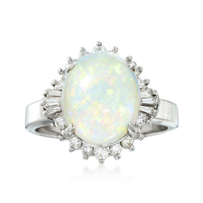 C. 1970 Vintage Opal and .40 ct. t.w. Diamond Ring in Platinum, , default