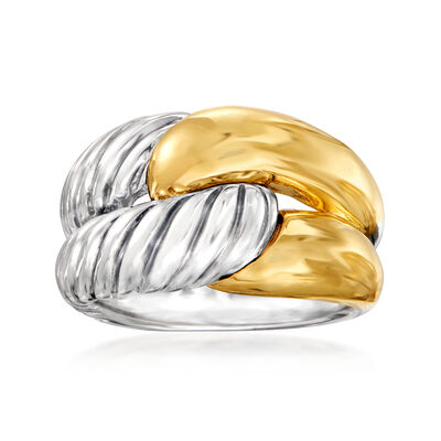 C. 1990 Vintage David Yurman Double-Row Ring in Sterling Silver and 14kt Yellow Gold