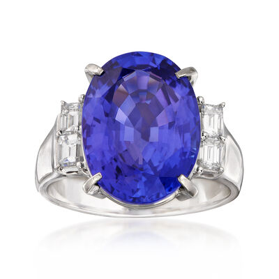 C. 1980 Vintage 7.93 Carat Tanzanite and .40 ct. t.w. Diamond Ring in Platinum, , default