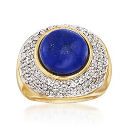 Italian Andiamo Lapis and 2.10 ct. t.w. CZ Ring in 14kt Yellow Gold Over Resin. Size 5, , default