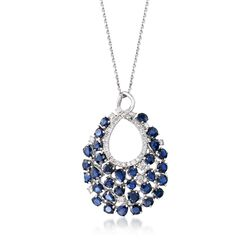 "5.60 ct. t.w. Sapphire and .57 ct. t.w. Diamond Teardrop Pendant Necklace in 14kt White Gold. 16"", , default"