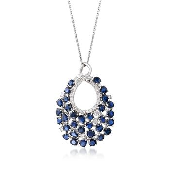 """5.60 ct. t.w. Sapphire and .57 ct. t.w. Diamond Teardrop Pendant Necklace in 14kt White Gold. 16"""", , default"""