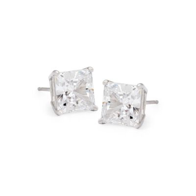 3.00 ct. t.w. Princess-Cut CZ Stud Earrings in 14kt White Gold, , default