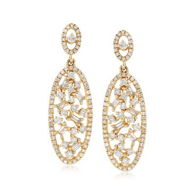 .95 ct. t.w. Diamond Oval-Shaped Drop Earrings in 14kt Yellow Gold, , default