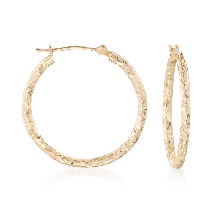 """14kt Yellow Gold Diamond-Cut Hoop Earrings. 1"""", , default"""