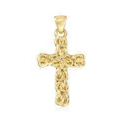 Andiamo 14kt Yellow Gold Byzantine Cross Pendant, , default