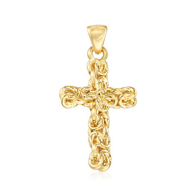 Andiamo 14kt Yellow Gold Byzantine Cross Pendant, , default