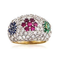 C. 1990 Vintage 2.10 ct. t.w. Diamond Dome Ring With .95 ct. t.w. Multi-Stones in 18kt Yellow Gold, , default