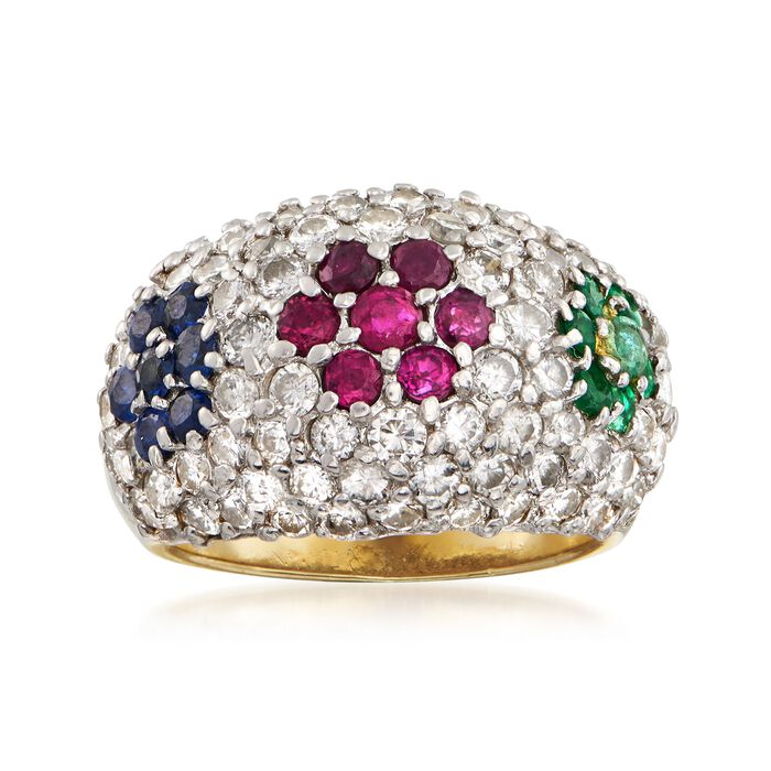C. 1990 Vintage 2.10 ct. t.w. Diamond Dome Ring with .95 ct. t.w. Multi-Stones in 18kt Yellow Gold. Size 5.5, , default