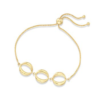 14kt Yellow Gold Three-Station Open Circle Bolo Bracelet , , default