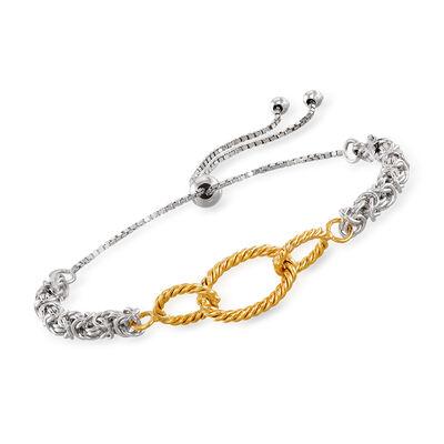 Sterling Silver Byzantine Bolo Bracelet with 14kt Yellow Gold Oval Links