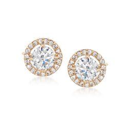 1.89 ct. t.w. CZ Halo Earrings in 14kt Yellow Gold, , default