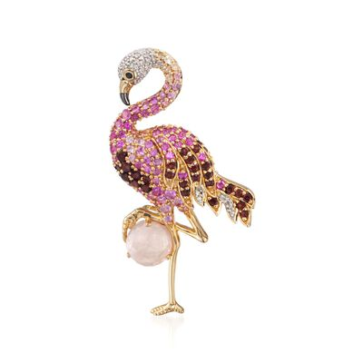 2.20 ct. t.w. Multi-Stone and .10 ct. t.w. Diamond Flamingo Pin Pendant in 18kt Gold Over Sterling, , default