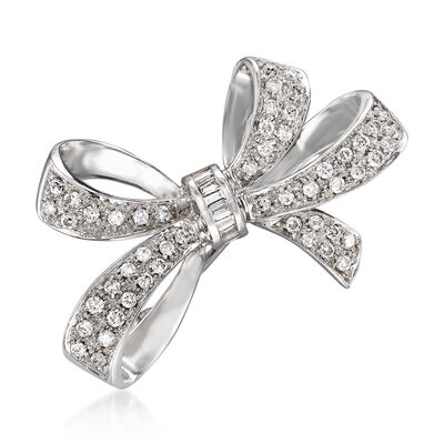 C. 1970 Vintage 1.10 ct. t.w. Diamond Bow Pin in 14kt White Gold, , default